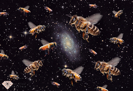 swarm of bees with space in the background.